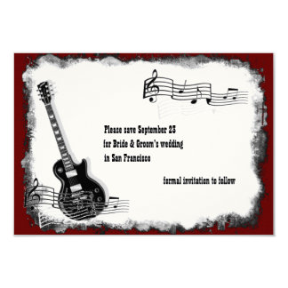 Electric Guitar Black Red Music Save the Date Card