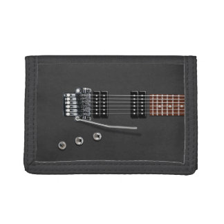 Electric Guitar Black Trifold Wallet