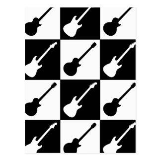 Electric Guitar Checkerboard Postcard
