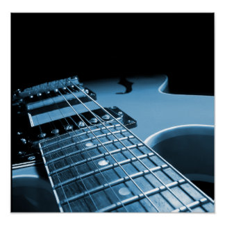 Electric Guitar Close Up - Blue Poster
