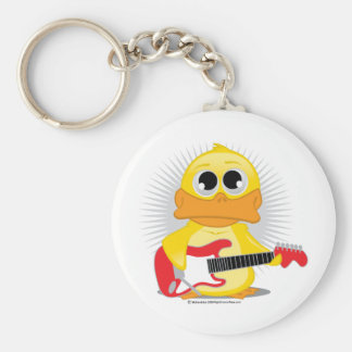 Electric Guitar Duck Basic Round Button Key Ring