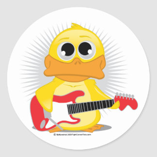 Electric Guitar Duck Classic Round Sticker