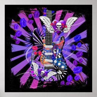 Electric Guitar Jester Skull Purple Design Poster