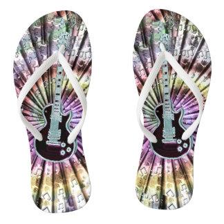 Electric Guitar On Fractal Tie-Dye Flip Flops Thongs