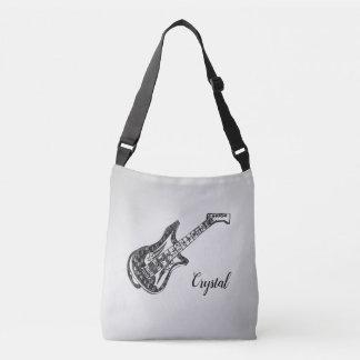 Electric Guitar on Silver Crossbody Bag