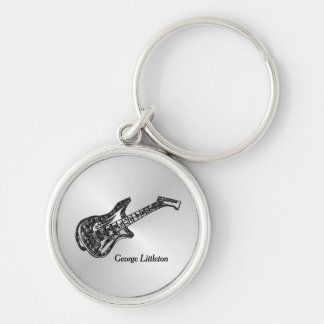 Electric Guitar on Silver Personal Key Ring