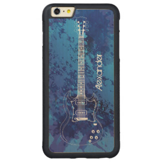 Electric Guitar Outline Blue Paint Splats Carved® Maple iPhone 6 Plus Bumper Case