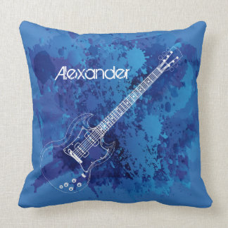 Electric Guitar Outline Blue Paint Splats Throw Pillow