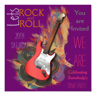 Electric Guitar Personalized musical Invitations