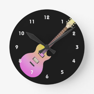electric guitar pink yellow gradient.png round clock