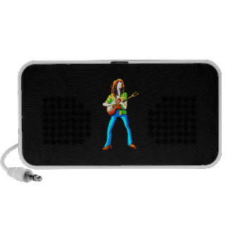 Electric Guitar Player Graphic Image Blue Pants Portable Speakers