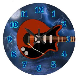 Electric Guitar Player Large Clock