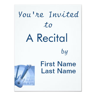 "electric guitar rap word music bluue.png 4.25"" x 5.5"" invitation card"