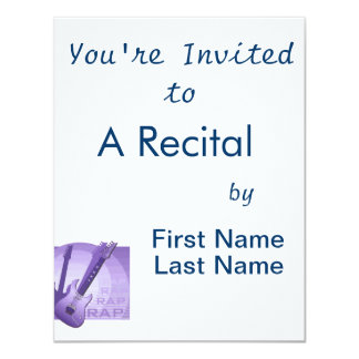 "electric guitar rap word music purple.png 4.25"" x 5.5"" invitation card"