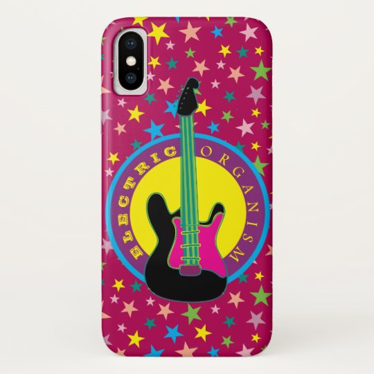 Electric Guitar Rock Music Star Vibrant Colours iPhone X Case