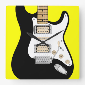 Electric Guitar Square Wall Clock