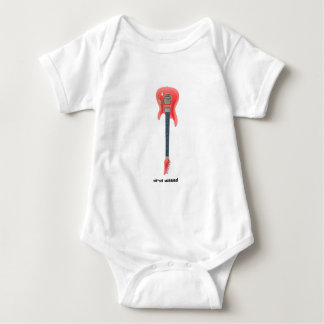 Electric Guitar white text 120-dpi pink Baby Bodysuit