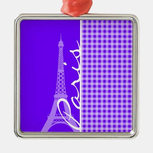 Electric Indigo Gingham; Paris Christmas Tree Ornament