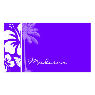 Electric Indigo Tropical Hibiscus; Palm Double-Sided Standard Business Cards (Pack Of 100)