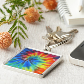 Electric Kool Aid Silver-Colored Square Key Ring