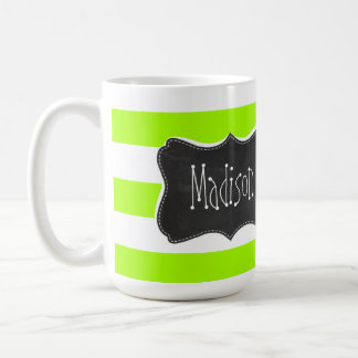 Electric Lime Horizontal Stripes; Chalkboard Basic White Mug