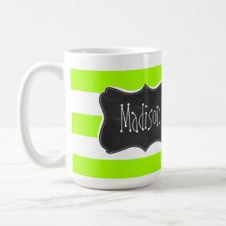 Electric Lime Horizontal Stripes; Chalkboard Basic White Mug