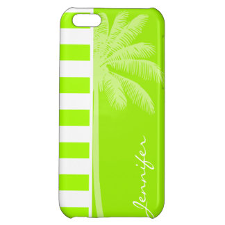 Electric Lime Horizontal Stripes; Palm iPhone 5C Case
