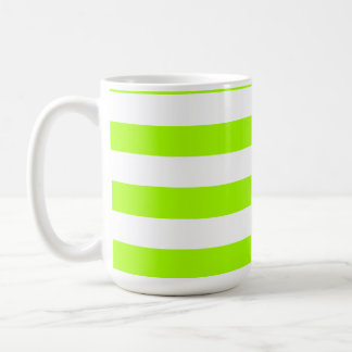 Electric Lime Horizontal Stripes; Striped Basic White Mug