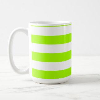 Electric Lime Horizontal Stripes; Striped Basic White Mug