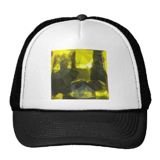 Electric Lime Yellow Abstract Low Polygon Backgrou Cap