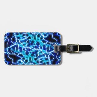 Electric Neon Aqua Blue Teal Lightning Luggage Tag