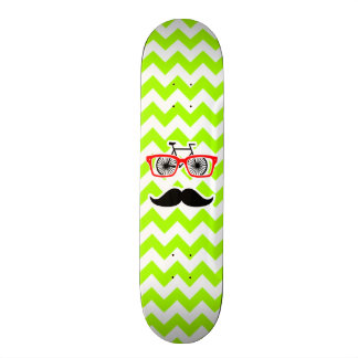 Electric Neon Lime Green Chevron Funny Hipster Skate Boards