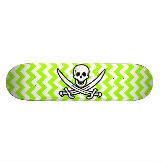 Electric Neon Lime Green Chevron; Pirate Skate Board Deck