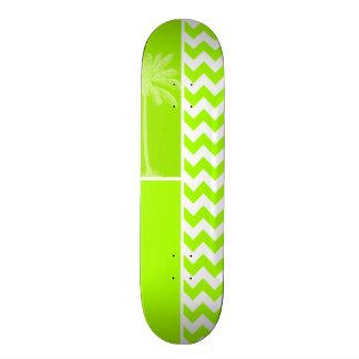Electric Neon Lime Green Chevron; Tropical Palm Skate Board