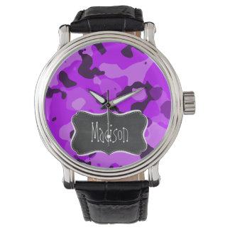 Electric Purple Camo; Vintage Chalkboard look Wristwatch