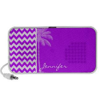 Electric Purple Chevron; zigzag; Palm Travelling Speaker