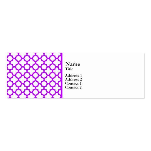 Electric Purple Quatrefoil Pattern Business Card Templates