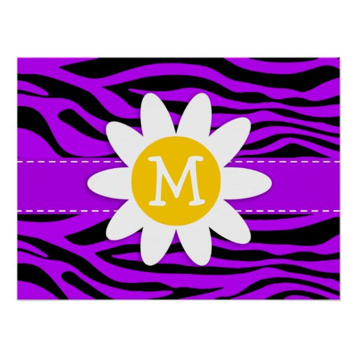 Electric Purple Zebra Stripes; Daisy Posters