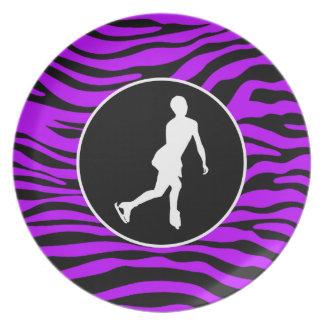 Electric Purple Zebra Stripes; Figure Skating Plate
