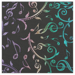 Electric Rainbow Notes and Clefs on Black Fabric