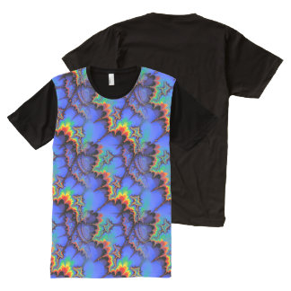 Electric Rainbow Waves Fractal Art Pattern All-Over Print T-Shirt