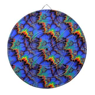 Electric Rainbow Waves Fractal Art Pattern Dartboard