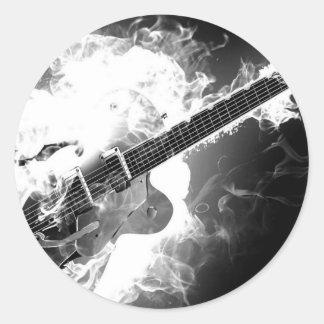 Electric Rockabilly Guitar on Fire Monochrome Round Sticker