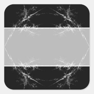 Electric Scratch. Black, White Fractal Art. Square Sticker