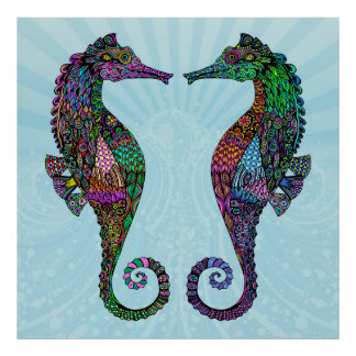 Electric Seahorse Poster/Print Poster