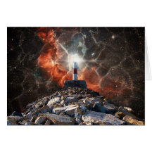 Electric Space Lights Greeting Card