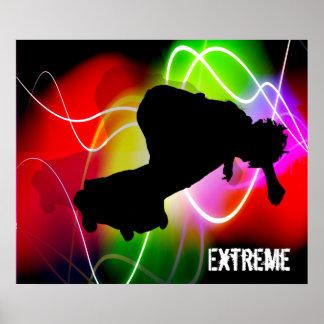 Electric Spectrum Skateboarder Poster