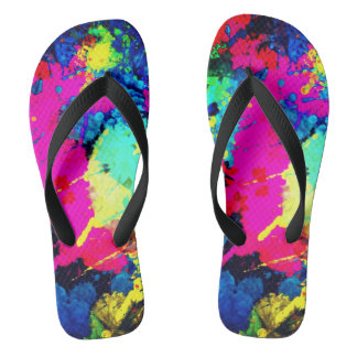 electric splatter unisex flip flops