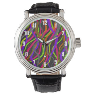 Electric Squiggly Lines of Bright Colors on Watch