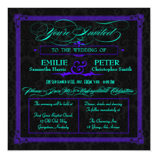 Electric Teal & Purple Green Poster Style Wedding 13 Cm X 13 Cm Square Invitation Card